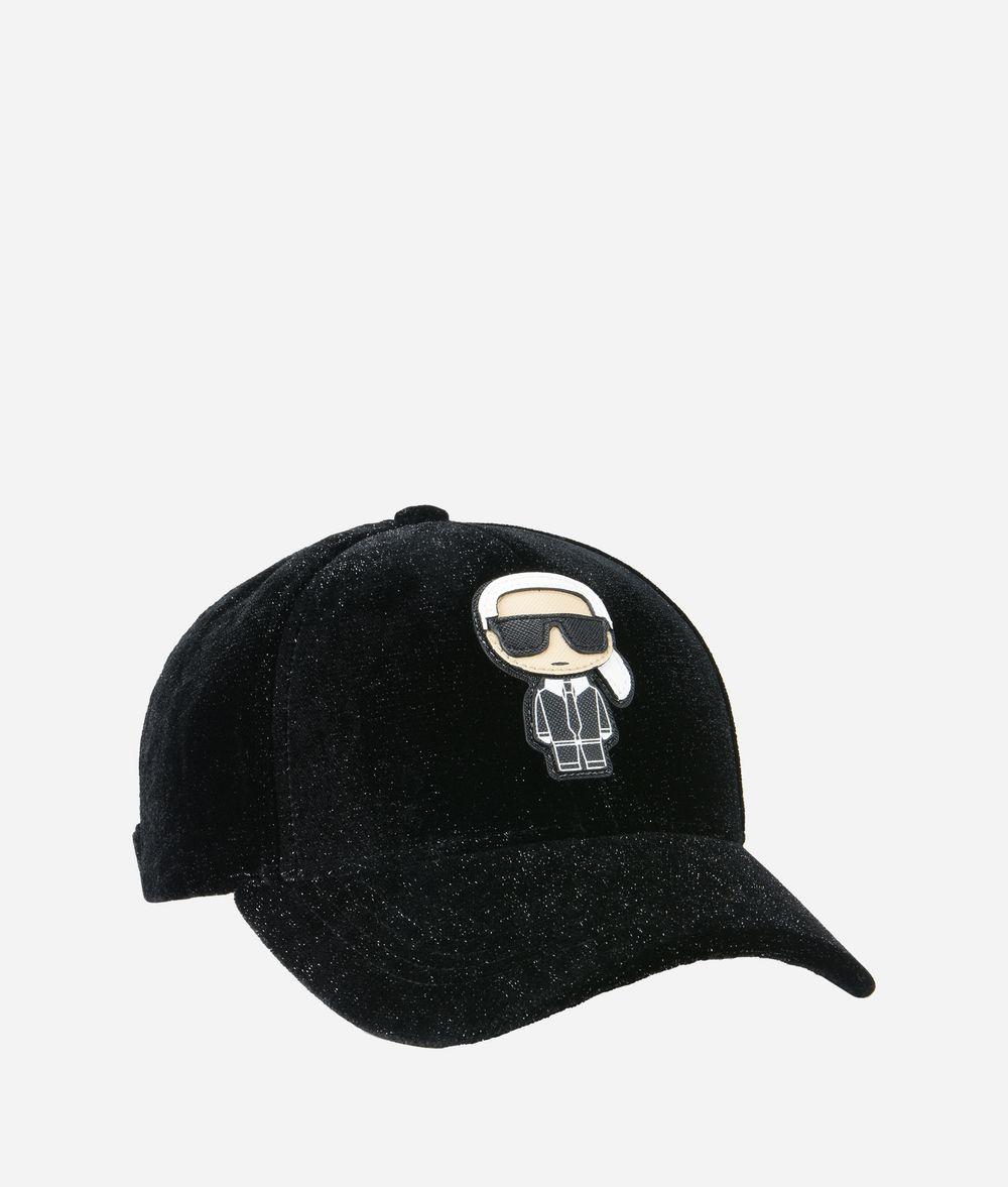 KARL LAGERFELD K/Ikonik Velvet Cap Hat Woman f
