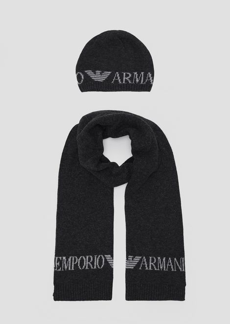 94058743efc Knitted scarf with contrast Emporio Armani logo