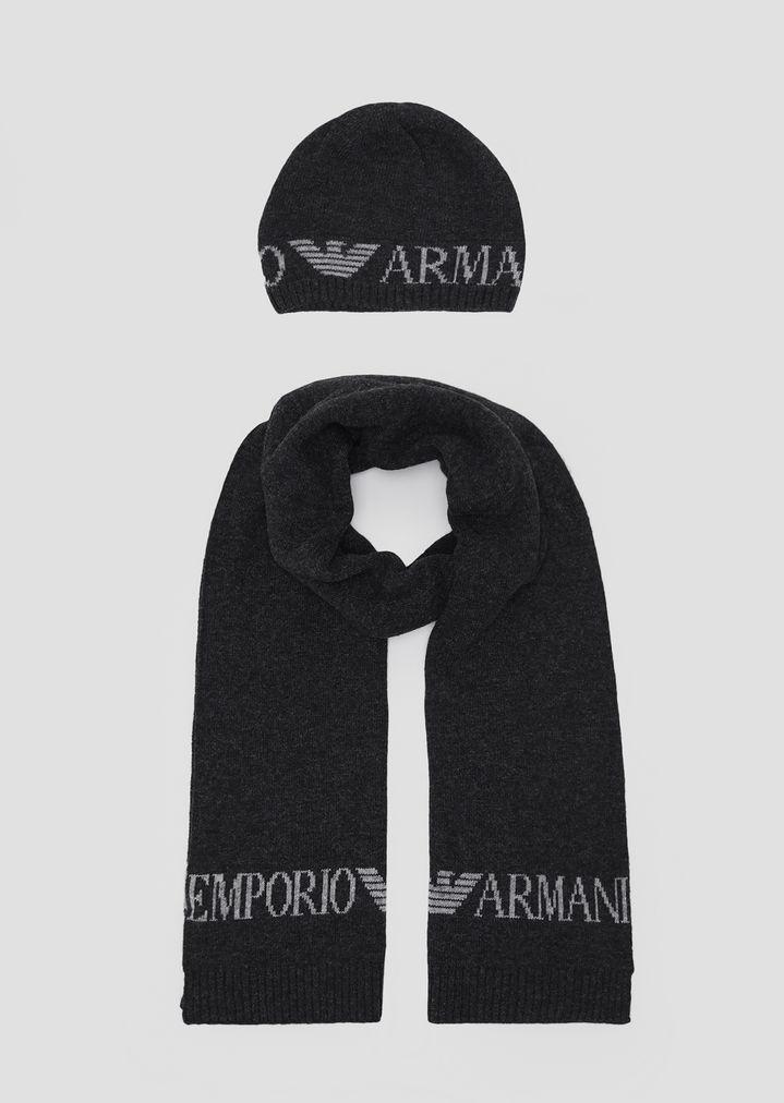 Prix de gros 2019 les mieux notés dernier une autre chance Écharpe en maille avec logo Emporio Armani contrastant ...