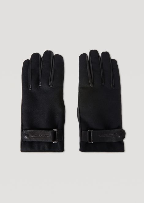 Bi-material leather and boiled wool gloves with straps