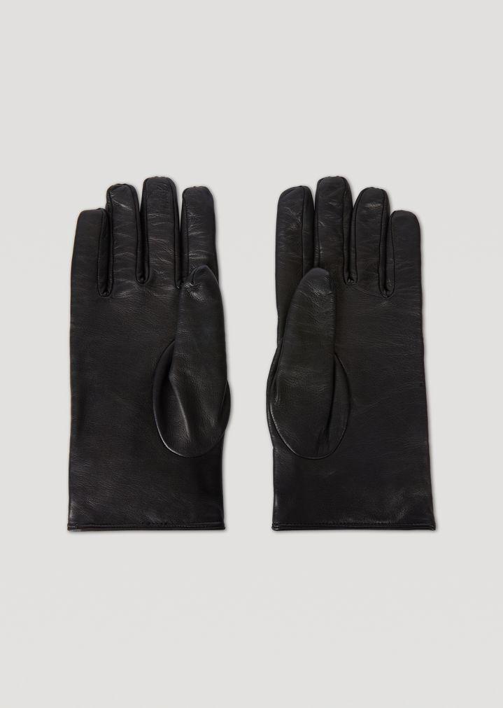 Guanti bimateriale in pelle e lana cotta con cinturino  857aee98687d