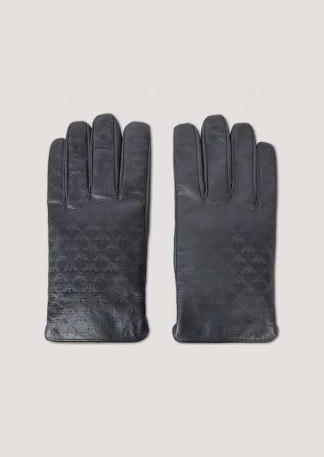 Leather gloves with all-over logo and wool lining