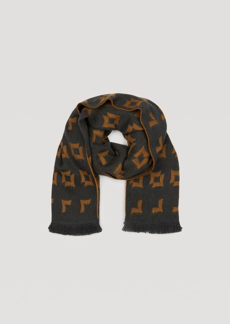 Pure wool scarf with geometric pattern jacquard