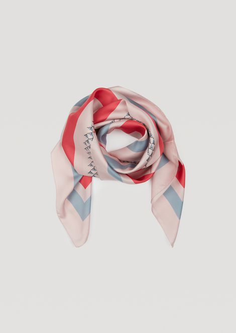Pure silk scarf with geometric pattern