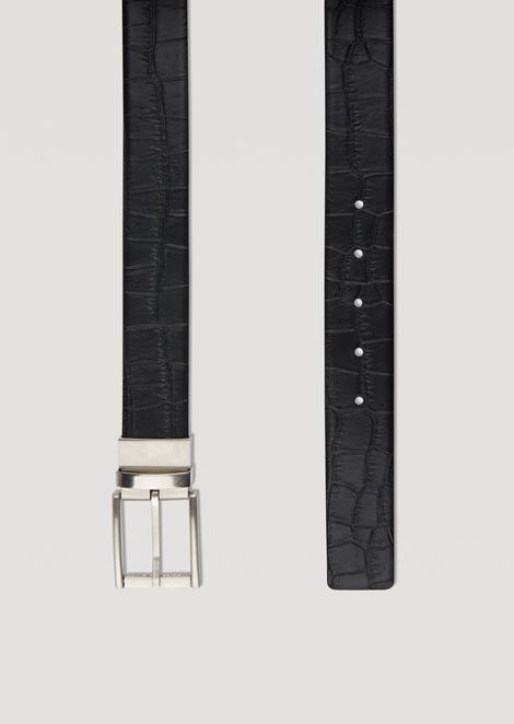 Croc print leather belt