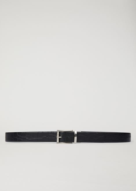 Croc print leather belt