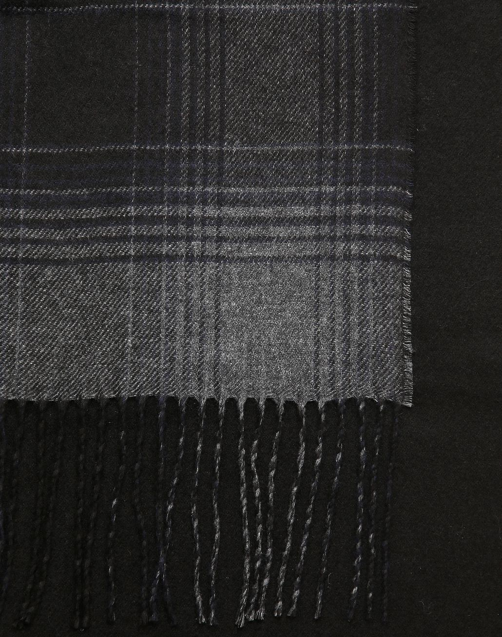 BRIONI Navy Blue Checked Scarf Foulards & Scarves Man d