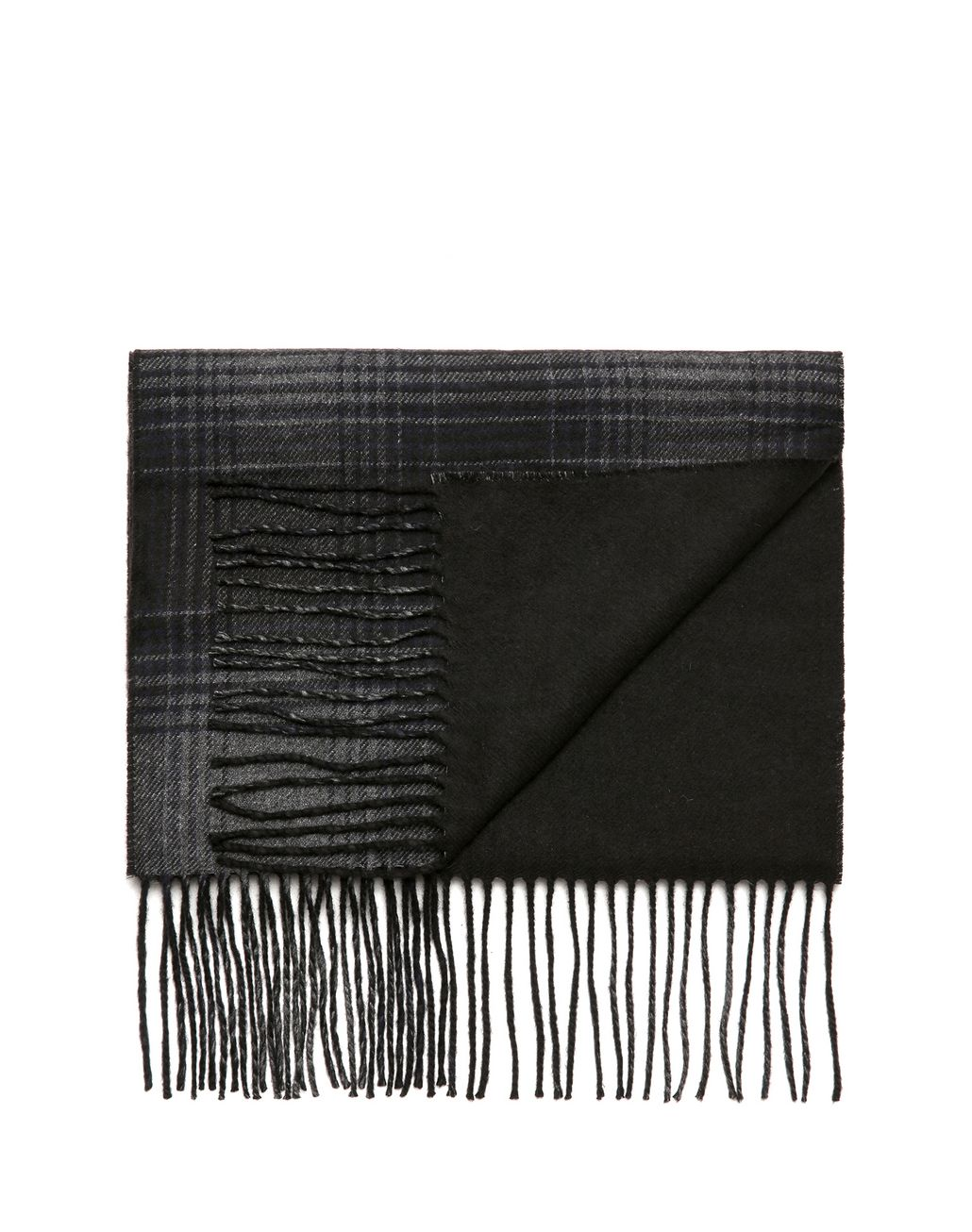 BRIONI Navy Blue Checked Scarf Foulards & Scarves Man r