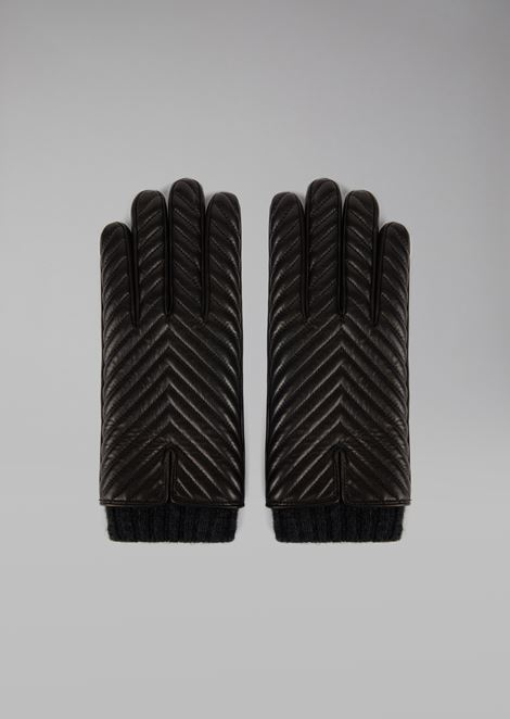 Gloves in nappa leather with chevron design and cashmere lining