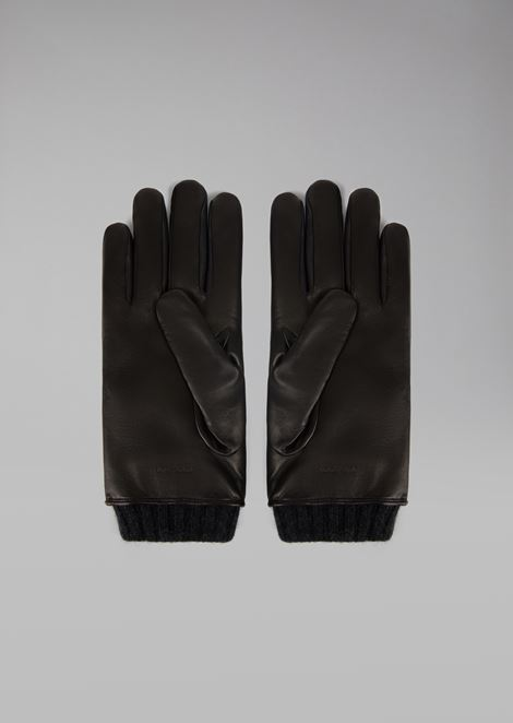 Nappa leather gloves with chevron pattern and cashmere lining