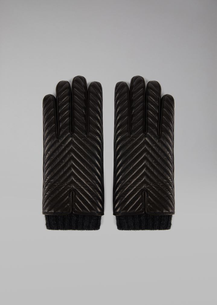 0a4afac601fd5 Nappa leather gloves with chevron pattern and cashmere lining | Man |  Giorgio Armani