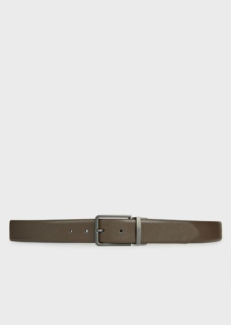Reversible belt in saffiano and smooth leather