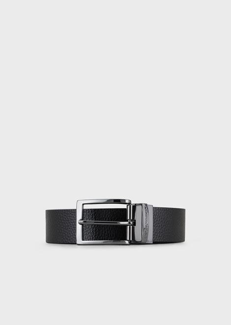 Reversible belt in hammered and smooth leather