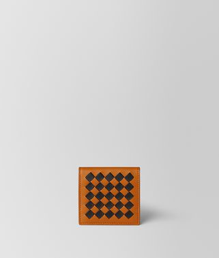 ORANGE/NERO INTRECCIATO CHECKER COIN PURSE