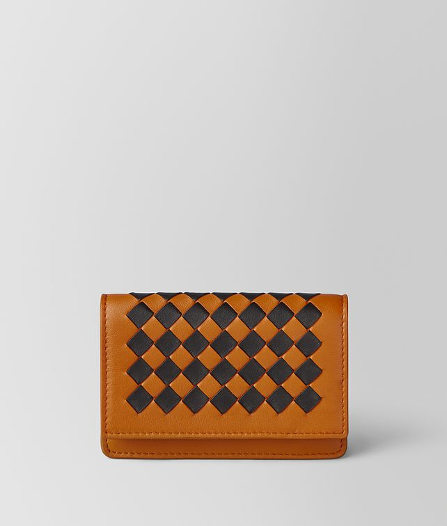 BOTTEGA VENETA ORANGE/NERO INTRECCIATO CHECKER CARD CASE Card Case or Coin Purse Man fp