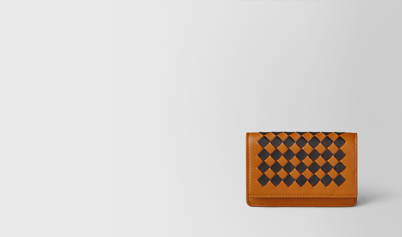 orange/nero intrecciato checker card case landing
