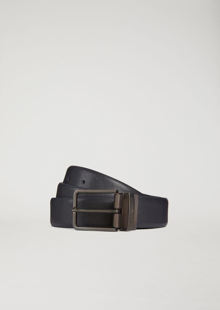 Emporio Armani - Wendbarer Gürtel aus Saffian- und glattem Leder - 1