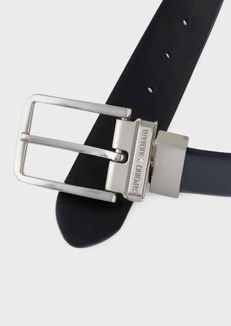 Reversible belt in two-tone leather