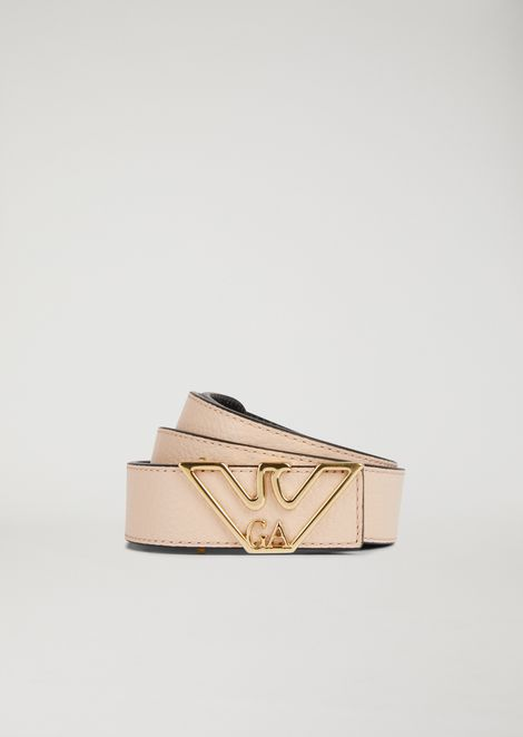 Cintura in pelle con logo