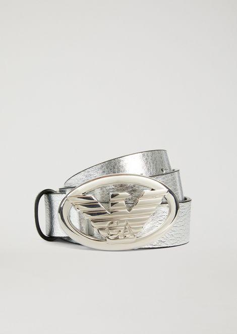 Laminated leather belt with maxi logo