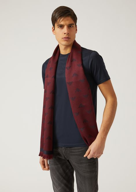 WOOL SCARF WITH LOGO MOTIF
