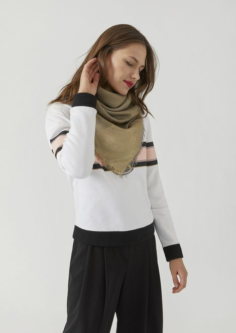 Scarf with all-over logo and lurex stripe