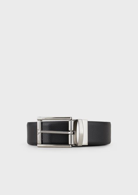 3be16098bb6f Boarded printed leather and smooth leather reversible belt