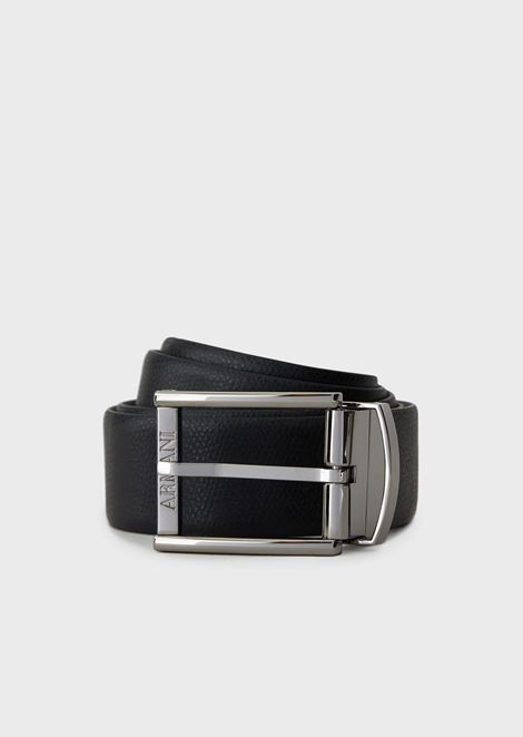 Boarded printed leather and smooth leather reversible belt