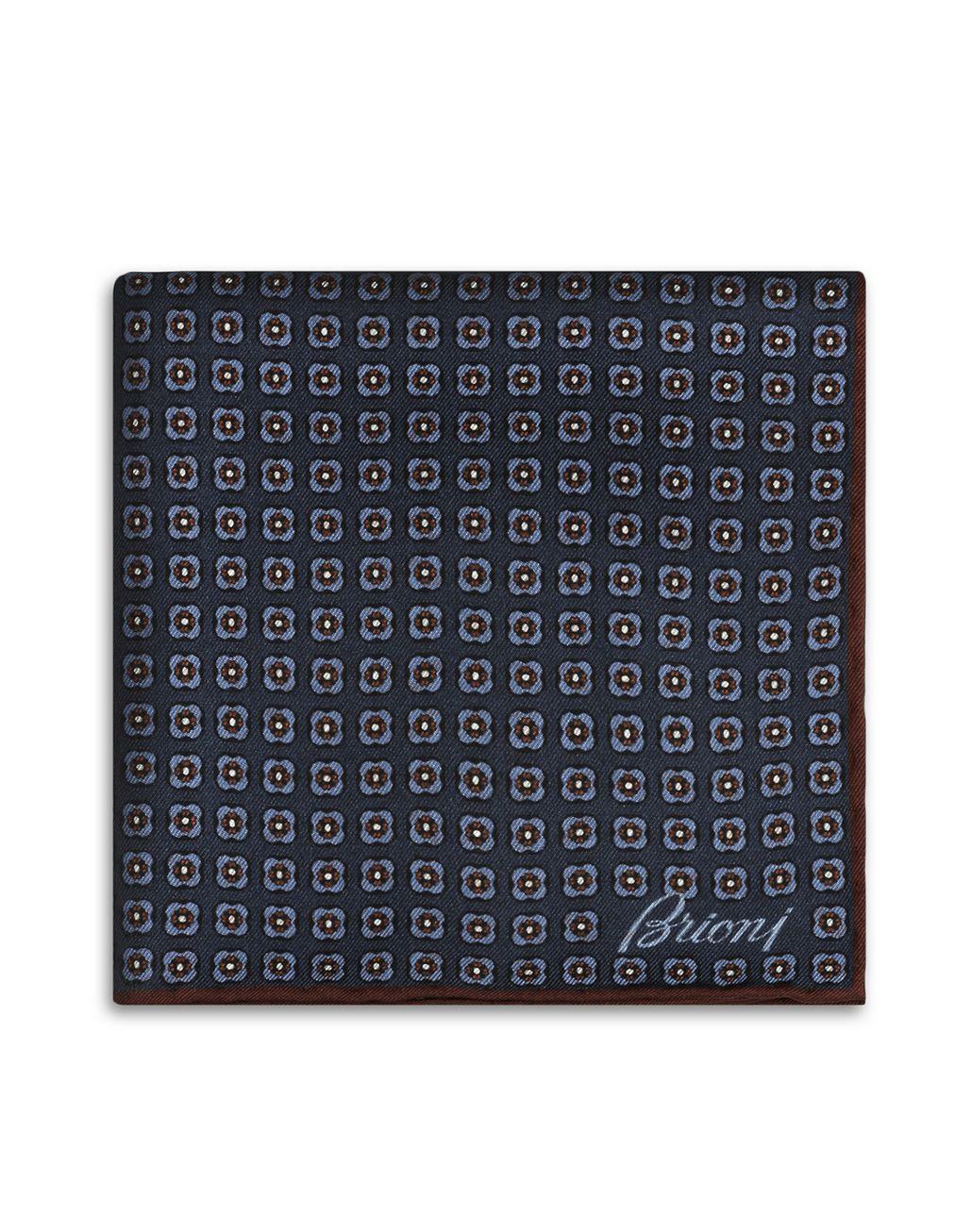 BRIONI Платок-паше василькового и иссиня-чёрного цветов с макроузором Галстуки и карманные платки Для Мужчин r