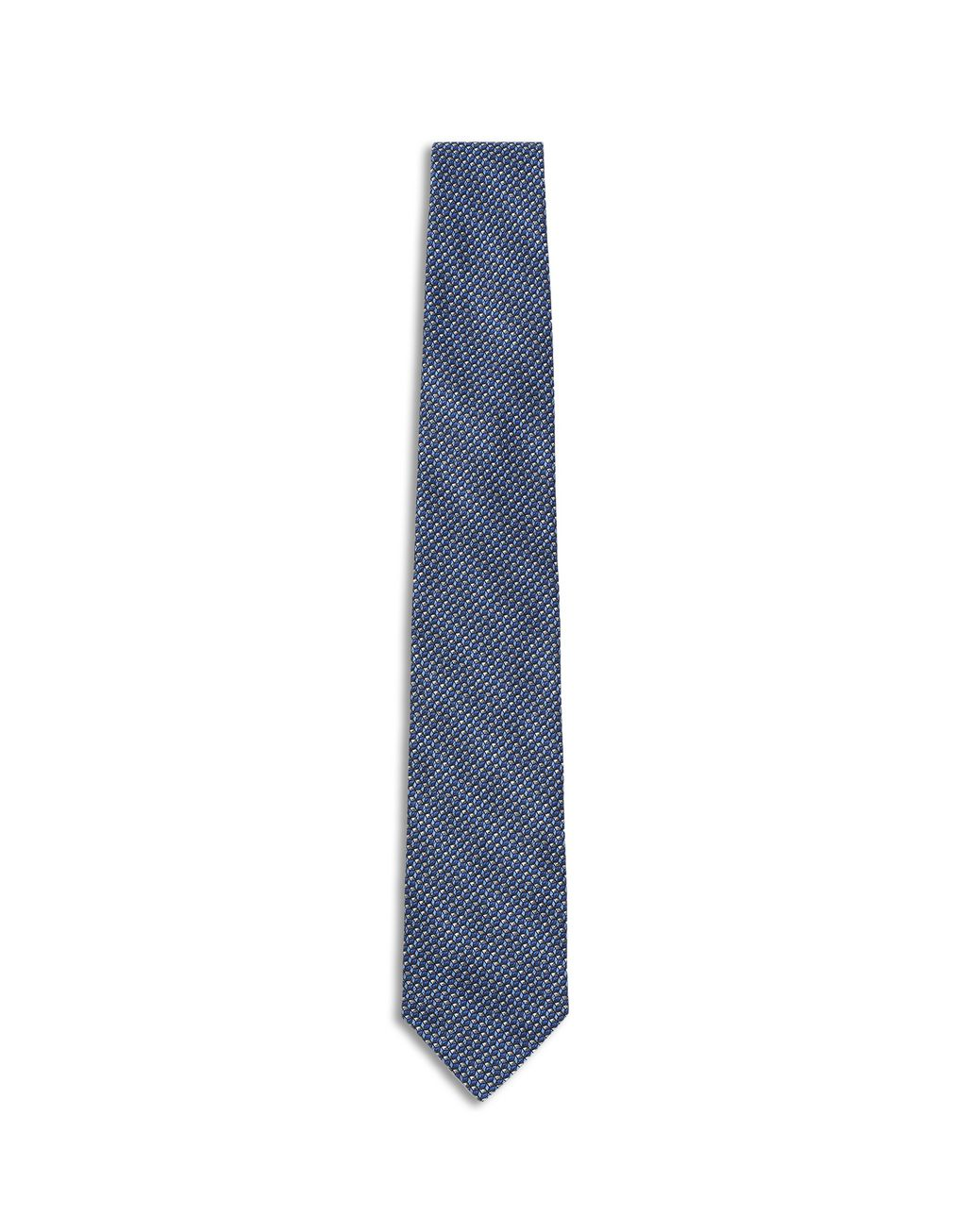 BRIONI Blue and Flannel Micro Design Tie Tie Man f