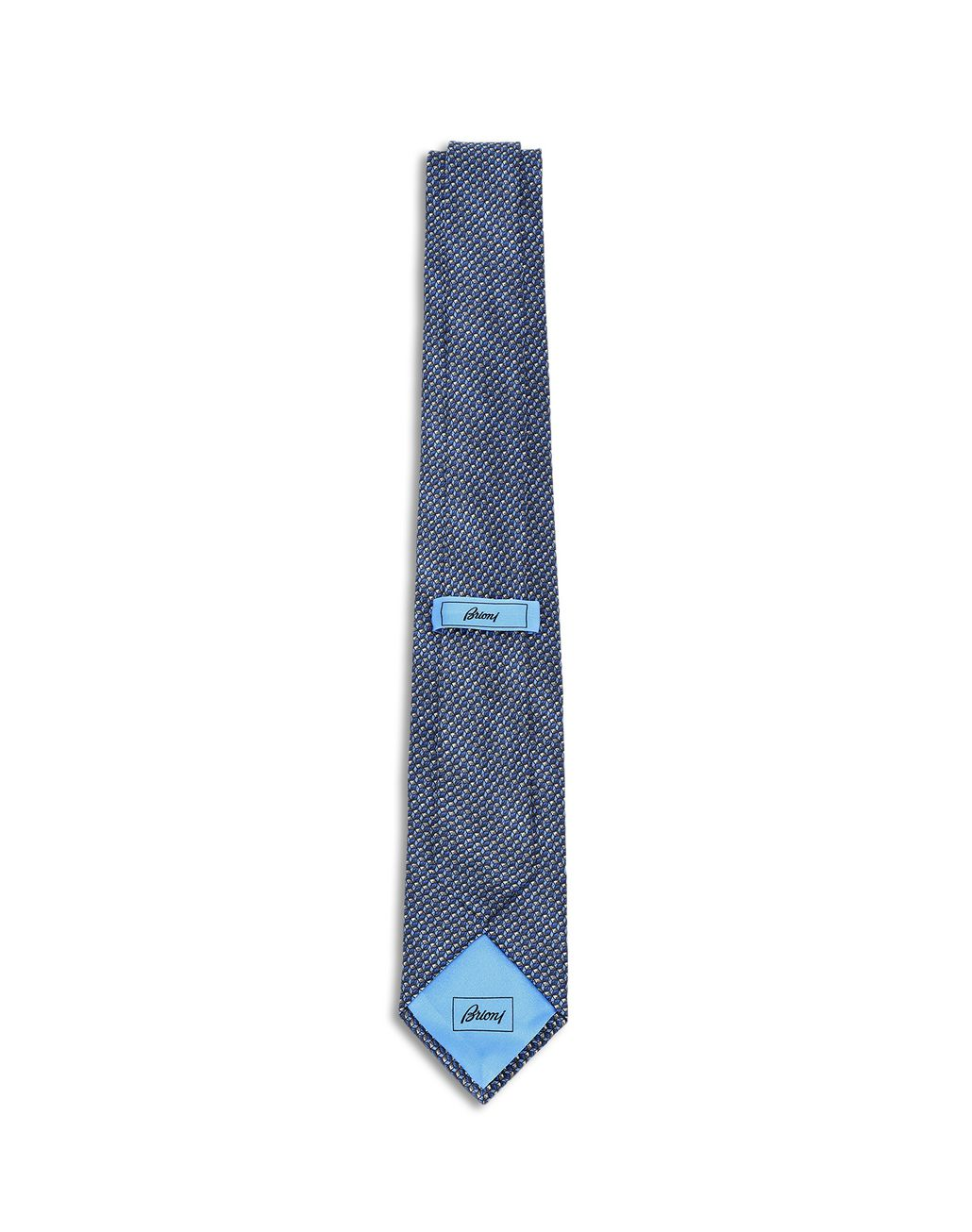 BRIONI Blue and Flannel Micro Design Tie Tie [*** pickupInStoreShippingNotGuaranteed_info ***] r