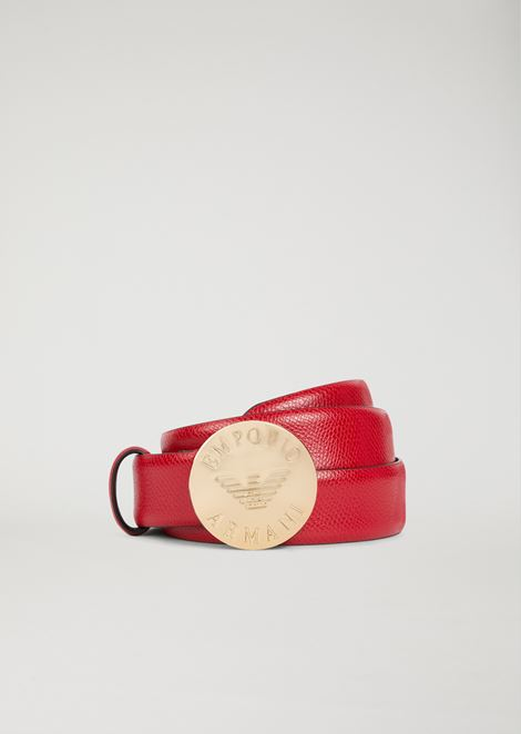 Belt with branded medallion