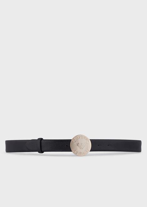 Belt with branded medallion