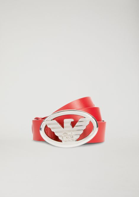 FAUX LEATHER BELT WITH LOGO BUCKLE