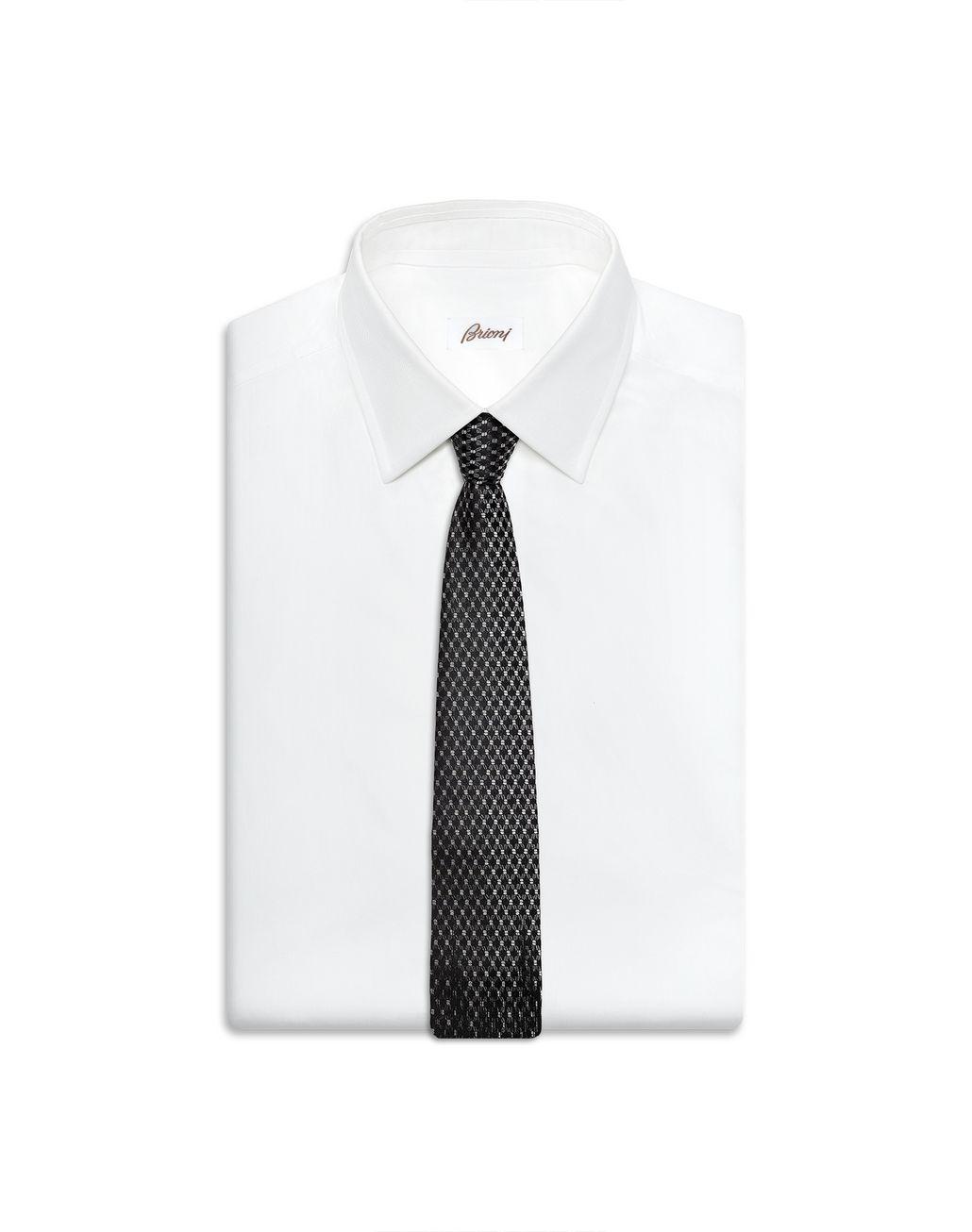 BRIONI Schwarze Flanellkrawatte mit kleinem Muster Krawatte [*** pickupInStoreShippingNotGuaranteed_info ***] e