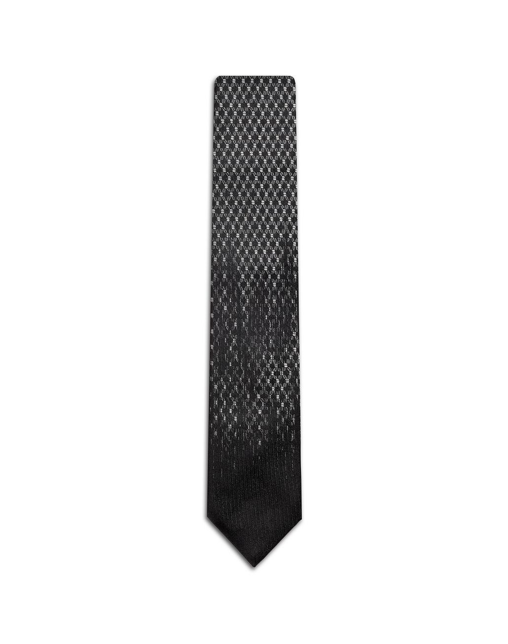 BRIONI Black and Flannel Micro Design Tie Tie Man f