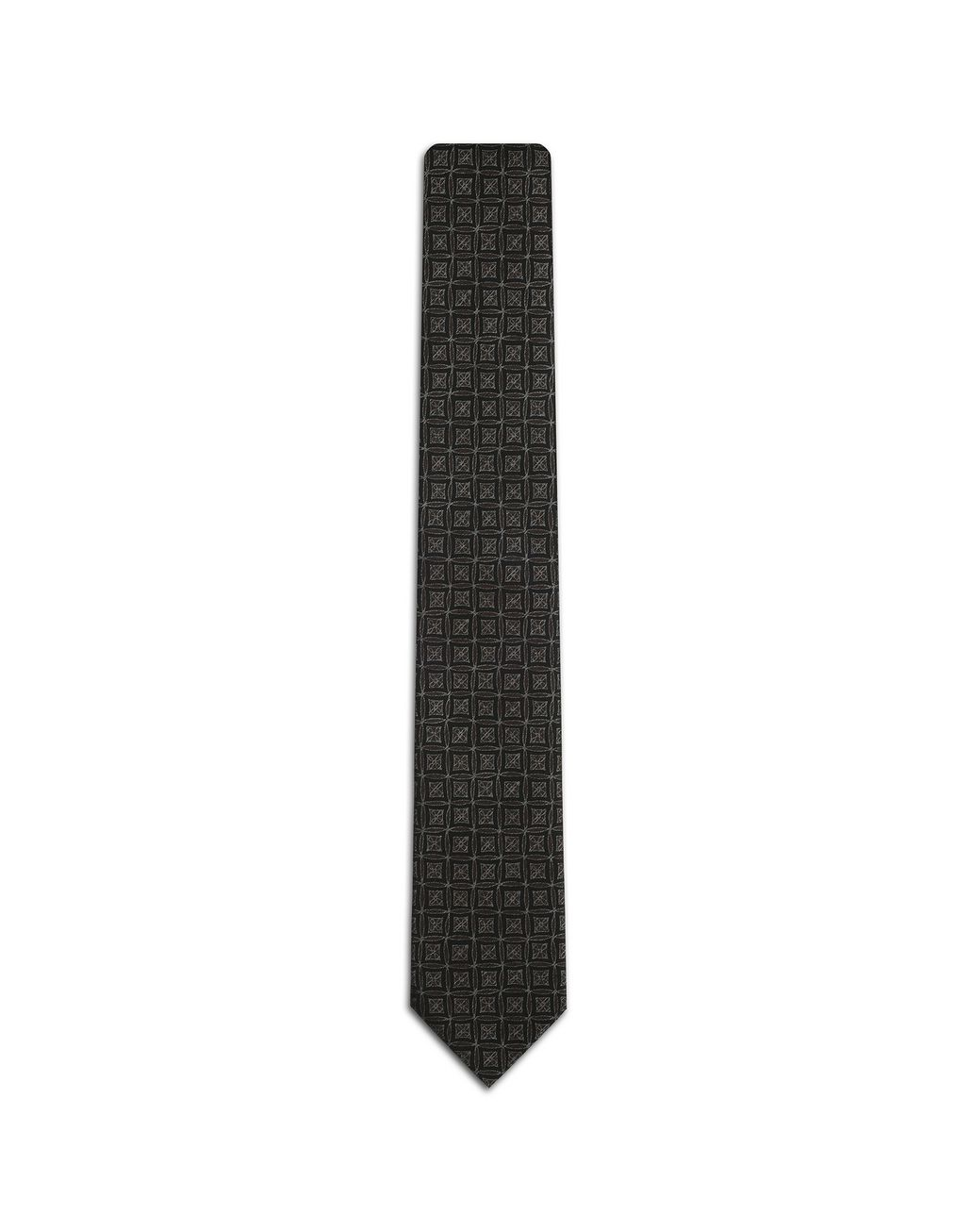 BRIONI Brown and Blue Macro Design Tie Tie [*** pickupInStoreShippingNotGuaranteed_info ***] f