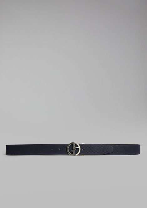 Suede belt with chevron pattern and metal logo