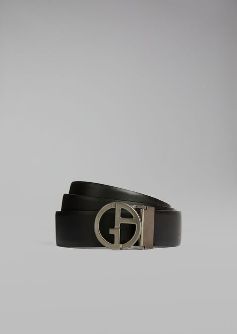 Smooth leather belt with removable and detachable buckle