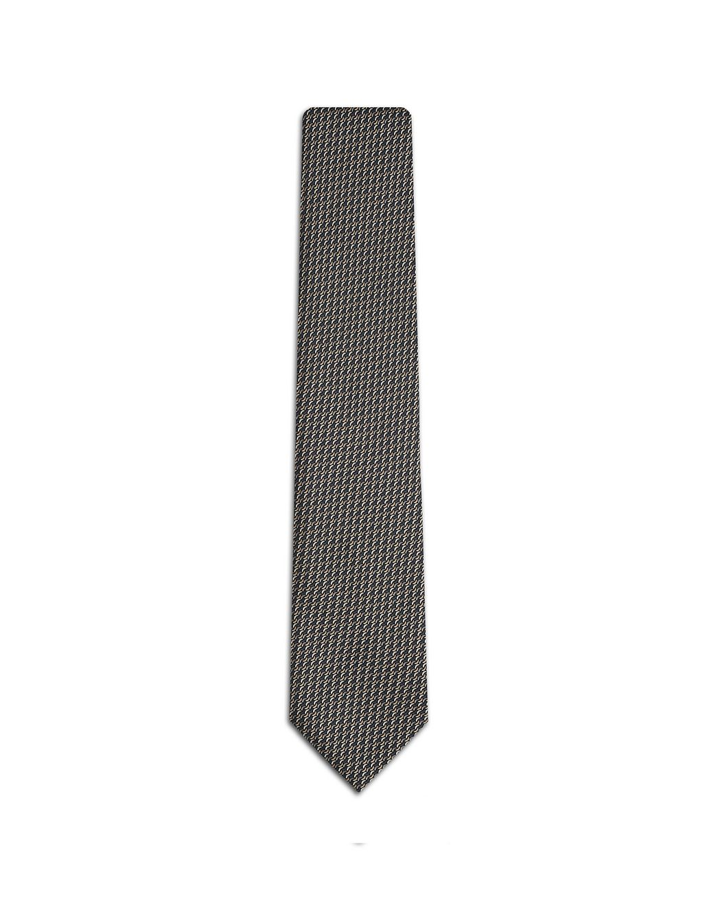 BRIONI Anthracite and Havana Micro Design Tie Tie Man f
