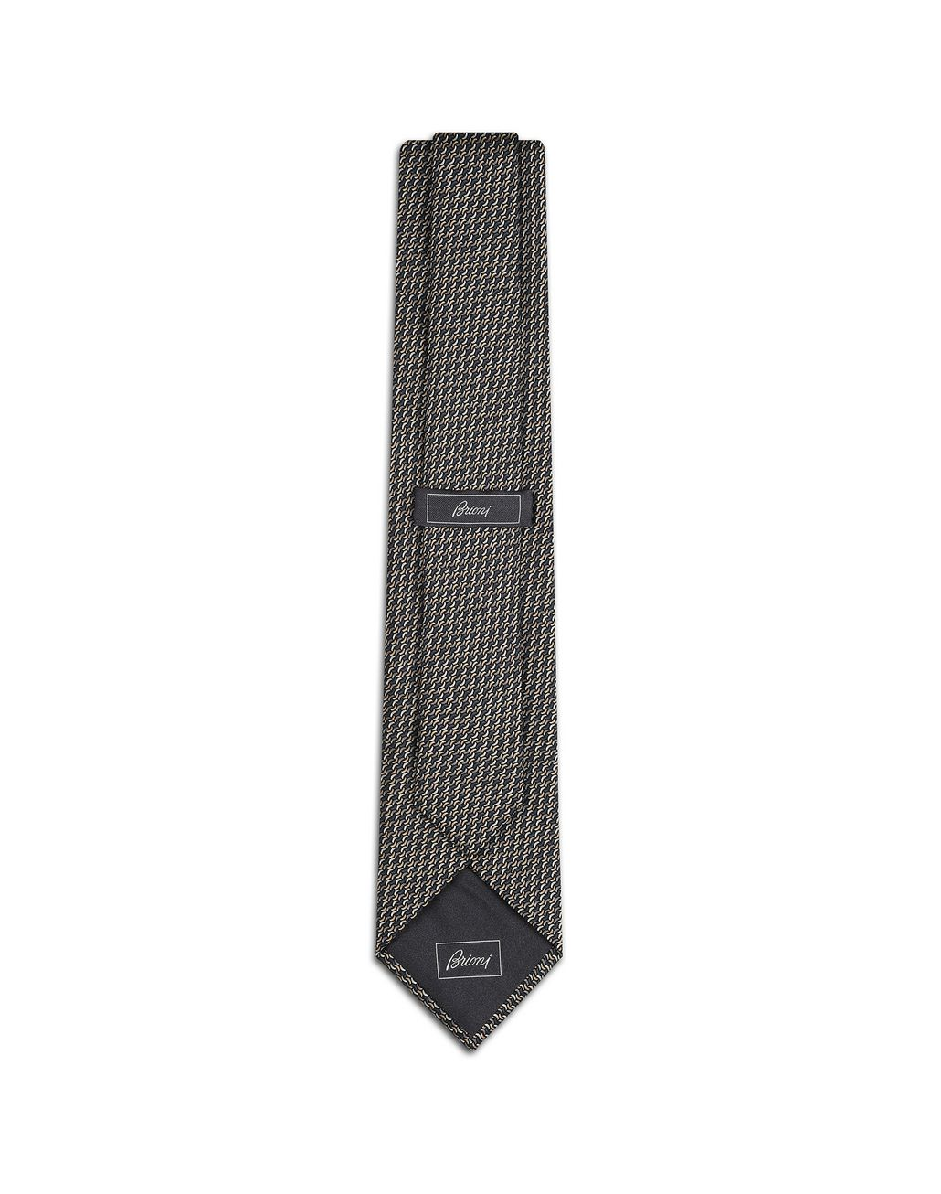BRIONI Anthracite and Havana Micro Design Tie Tie [*** pickupInStoreShippingNotGuaranteed_info ***] r