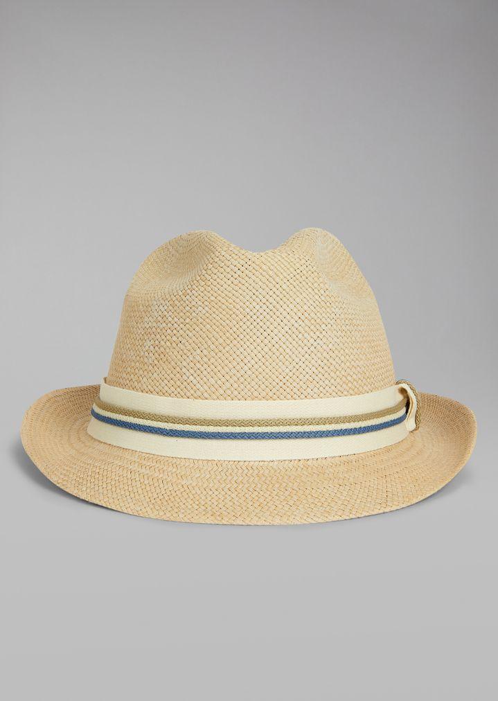ea50c12b20 Straw hat with canvas insert | Man | Giorgio Armani