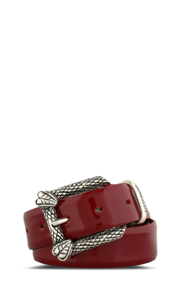 JUST CAVALLI Patent belt with snake buckle Belt Woman f
