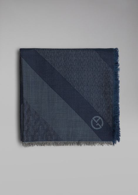 Silk and wool scarf with jacquard pattern