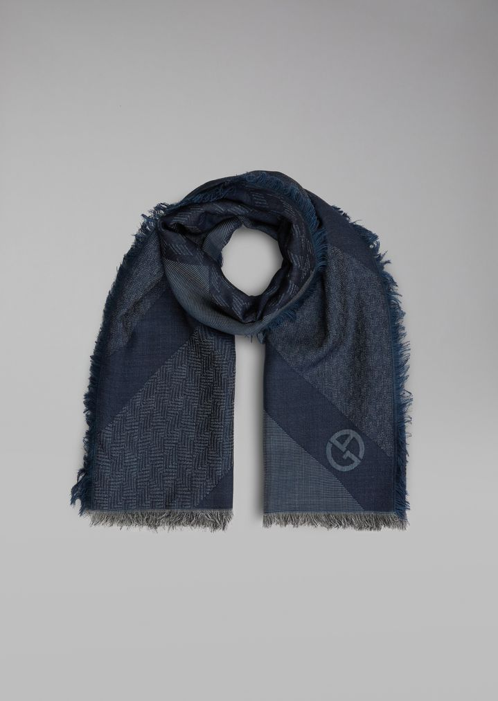 302e00e2a5 Silk and wool scarf with jacquard pattern