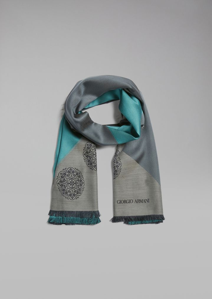 475083401a84 Silk and cotton scarf in contrasting color blocks | Man | Giorgio Armani