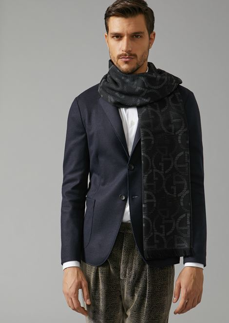 Wool scarf with logo jacquard design