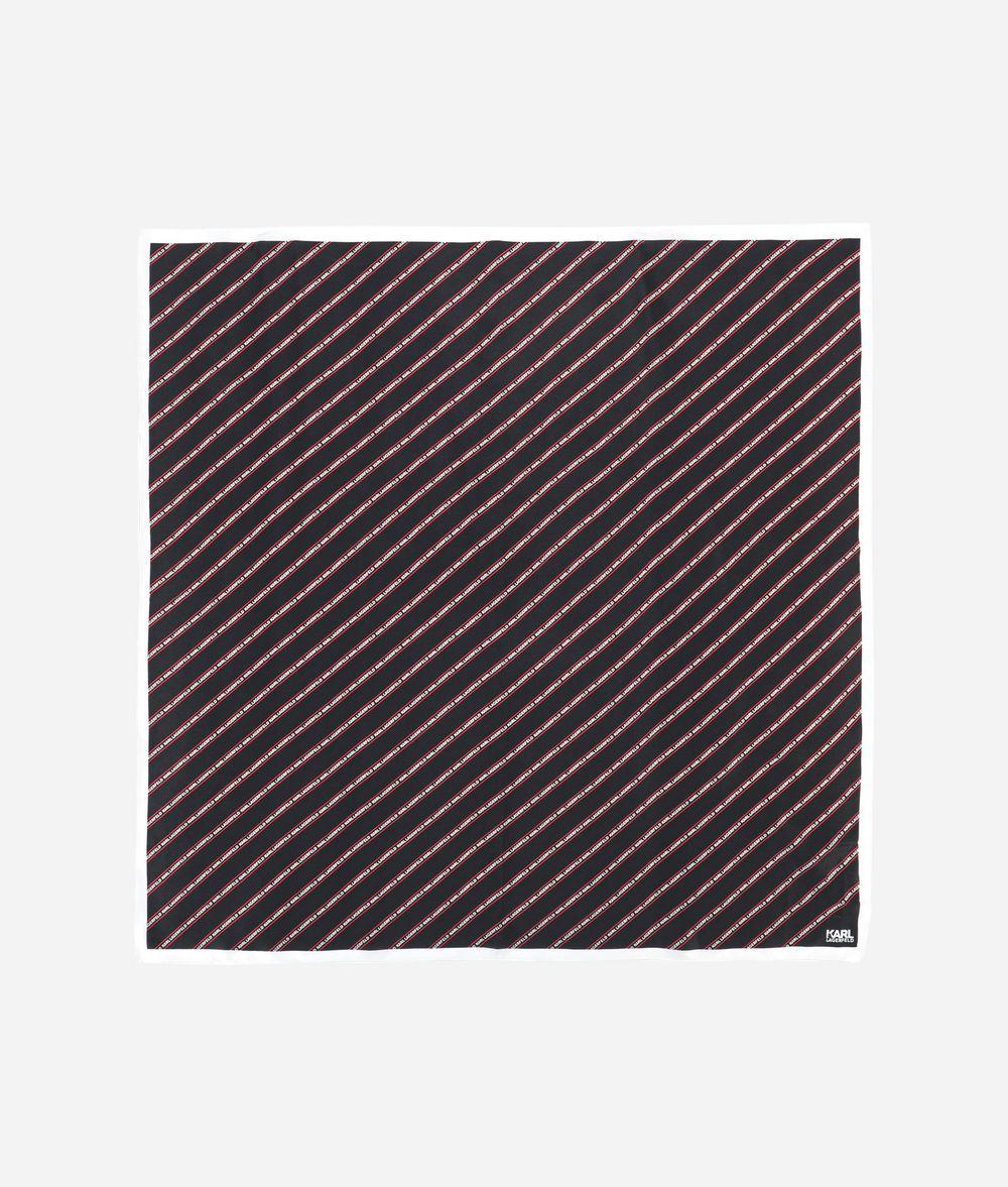 KARL LAGERFELD Silk Stripe Logo Scarf Scarf Woman f