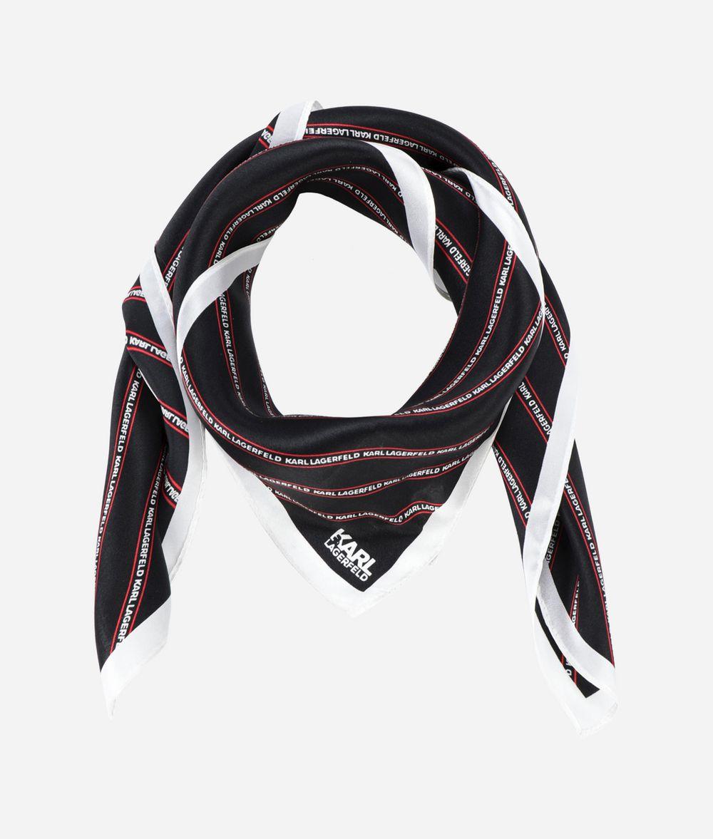 KARL LAGERFELD Silk Stripe Logo Scarf Scarf Woman r