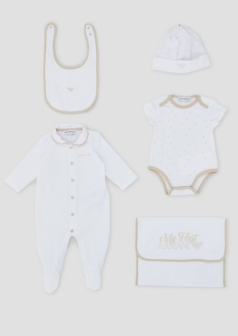 Gift set in pure cotton with a romper, all-in-one, hat and bib